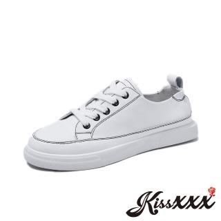 【KissXXX】真皮頭層牛皮撞色車線超軟舒適厚底休閒鞋(白)  KissXXX