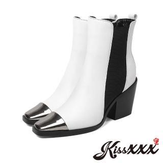 【KissXXX】小方頭金屬亮皮拼接切爾西粗跟帥氣短靴(白)優惠推薦  KissXXX