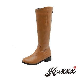 【KissXXX】經典俐落剪裁時尚純色騎士風低跟長靴(棕)評價推薦  KissXXX