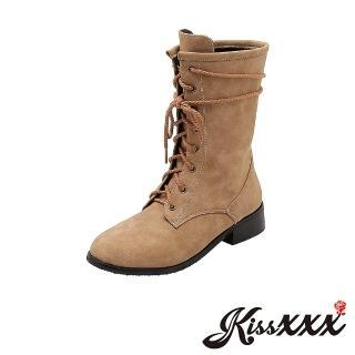 【KissXXX】自然色澤復古質感粗繩綁帶中筒馬丁靴(卡其)  KissXXX
