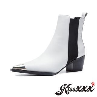 【KissXXX】尖頭設計感V型防水台金屬拼接粗跟切爾西短靴(白)  KissXXX