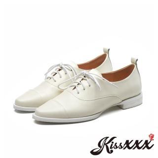 【KissXXX】真皮時尚尖頭低跟德比鞋(米)  KissXXX