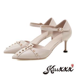 【KissXXX】不規則鞋口十字鉚釘飾尖頭高跟涼鞋(米)優惠推薦  KissXXX