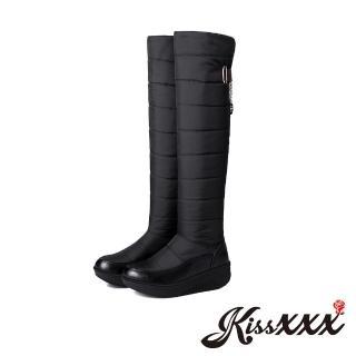 【KissXXX】保暖羽絨防輕潑水時尚厚底過膝雪靴(黑)  KissXXX