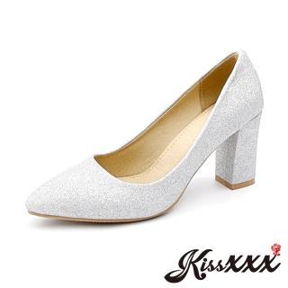 【KissXXX】純色百搭尖頭粗跟時尚高跟鞋(銀)評價推薦  KissXXX
