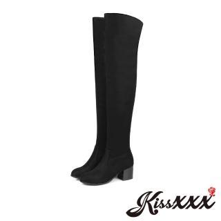 【KissXXX】美腿效果純色絨面騎士風粗跟過膝長靴(黑)  KissXXX