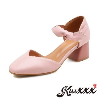 【KissXXX】V口小方頭立體甜美蝴蝶結飾粗跟涼鞋(粉)品牌優惠  KissXXX