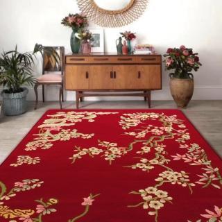 【山德力】高端精緻羊毛地毯-赤枝梅 200x300CM(地毯 設計 溫暖 羊毛 梅 花 中式 大尺寸)  山德力
