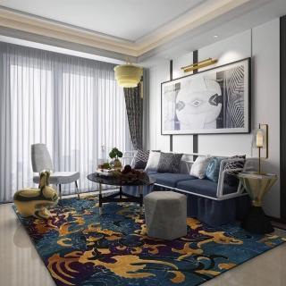 【山德力】高端精緻羊毛地毯-碧鈺樓 200x300CM(地毯 設計 溫暖 羊毛 波浪 藍 中式 大尺寸)  山德力
