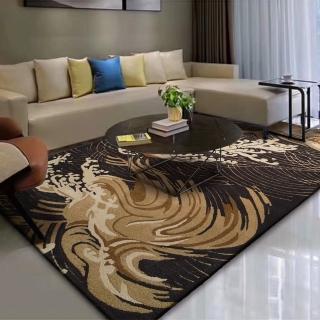 【山德力】高端精緻羊毛地毯-縷墨金 200x300CM(地毯 設計 溫暖 羊毛 浪花 黑 金 中式 大尺寸)優惠推薦  山德力