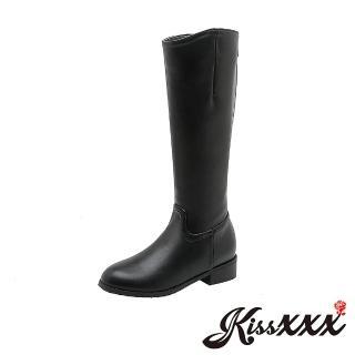【KissXXX】經典俐落剪裁時尚純色騎士風低跟長靴(黑)品牌優惠  KissXXX