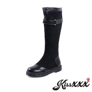 【KissXXX】時尚復古皮革拼接帥氣英倫風平底長筒靴(黑)折扣推薦  KissXXX