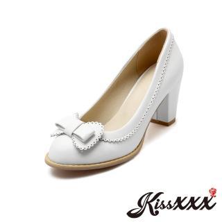 【KissXXX】唯美蕾絲邊立體蝴蝶結小尖頭高跟鞋(白)  KissXXX