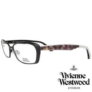 【Vivienne Westwood】優雅蕾絲土星款光學眼鏡(黑/白 VW287V_08)  Vivienne Westwood