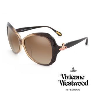 【Vivienne Westwood】氣質閃耀土星款太陽眼鏡(黑/透明咖啡 VW827_02) 推薦  Vivienne Westwood