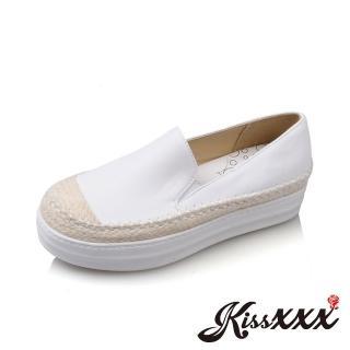 【KissXXX】手工草編拼接厚底時尚內增高樂福鞋 漁夫鞋(白)好評推薦  KissXXX