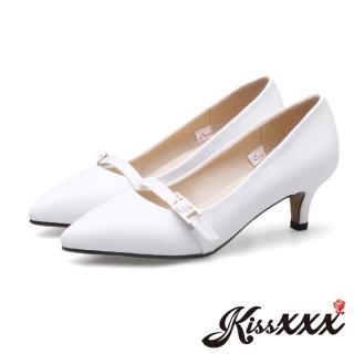【KissXXX】個性小尖頭一字釦飾高跟鞋(白) 推薦  KissXXX
