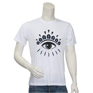 【KENZO】眼睛標誌印花短袖圓領衫(白5TS049-4YC-01)  KENZO