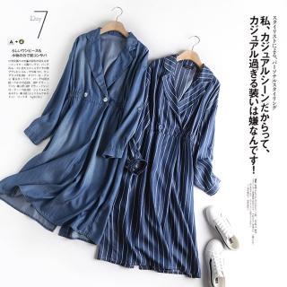 【Aichi 艾齊意】風衣型大翻領雙釦牛仔長洋裝(兩色/M-L)好評推薦  Aichi 艾齊意