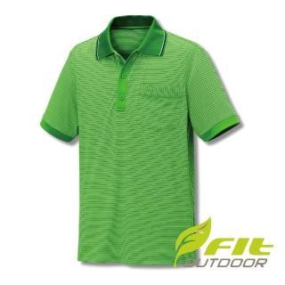 【Fit 維特】男-吸排抗UV細條紋POLO衫-森林綠 GS1111-48(抗UV/戶外休閒/POLO衫)  Fit 維特