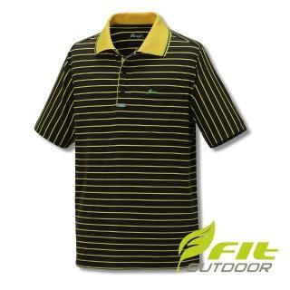 【Fit 維特】男-吸排抗UV寬條紋POLO衫-褐色 GS1112-08(抗UV/戶外休閒/POLO衫)  Fit 維特