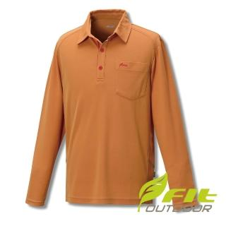 【Fit 維特】男-COOLMAX長袖POLO衫-黃褐色 GS1113-32(運動上衣/涼感/透氣快乾)  Fit 維特
