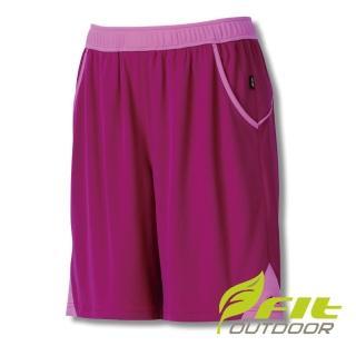 【Fit 維特】女-透氣吸排抗UV針織短褲-酒紅 GS2902-19(彈性褲/短褲/褲子/休閒褲)  Fit 維特