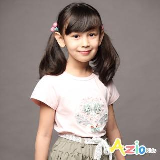【Azio Kids 美國派】女童 上衣 灰色花朵珍珠短袖上衣(粉)折扣推薦  Azio Kids 美國派