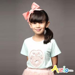 【Azio Kids 美國派】女童 上衣 愛心網紗花朵短袖上衣(水藍)  Azio Kids 美國派