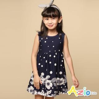 【Azio Kids 美國派】女童 洋裝 白色點點下擺大白花拉鍊洋裝(藍)折扣推薦  Azio Kids 美國派