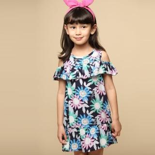 【Azio Kids 美國派】女童 洋裝 滿版太陽花露肩背釦洋裝(藍)  Azio Kids 美國派