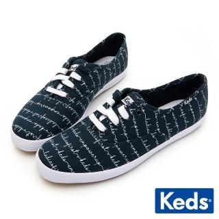 【Keds】CHAMPION 手繪藝術塗鴉綁帶休閒鞋(海軍藍)優惠推薦  Keds