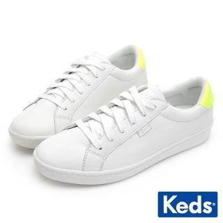 【Keds】ACE 復古運動皮質綁帶休閒鞋(白/黃)優惠推薦  Keds
