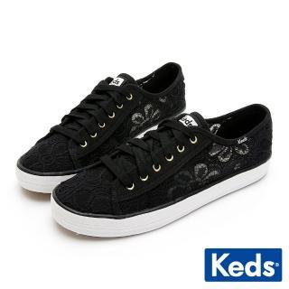 【Keds】KICKSTART 鏤空蕾絲花綁帶休閒鞋(黑)品牌優惠  Keds