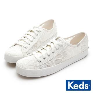 【Keds】KICKSTART 鏤空蕾絲花綁帶休閒鞋(白) 推薦  Keds