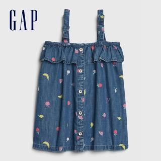 【GAP】嬰兒 童趣水果印花背帶洋裝(544040-深色水洗做舊)  GAP