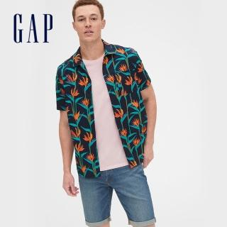 【GAP】男裝 簡約純色翻領短袖襯衫(548292-藍色印花) 推薦  GAP