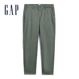 【GAP】女裝 簡約純色卷邊褲腳休閒褲(269754-軍綠色)  GAP
