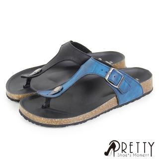 【Pretty】T型質感金屬飾釦平底夾腳拖鞋(藍色、黑色)  Pretty