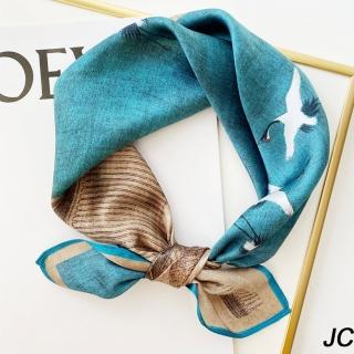 【JC Collection】蠶絲柔軟復古中國風味印瑞鶴圖精緻高檔四季百搭小方巾(藍色)好評推薦  JC Collection