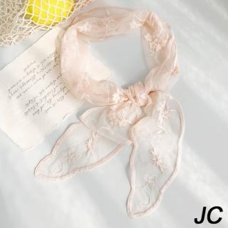 【JC Collection】蕾絲柔軟漂逸絲帶精緻繡花卉四季百搭小領巾(粉色)  JC Collection