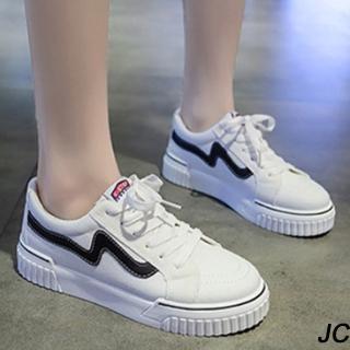 【JC Collection】增高顯瘦舒適繫帶帆布休閒鞋(白色)好評推薦  JC Collection