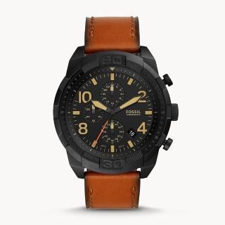 【FOSSIL】Bronson計時行李皮手錶50MM(FS5714)  FOSSIL
