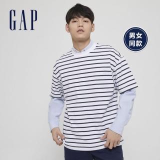 【GAP】男裝 棉質舒適條紋短袖T恤(592502-白色)評價推薦  GAP
