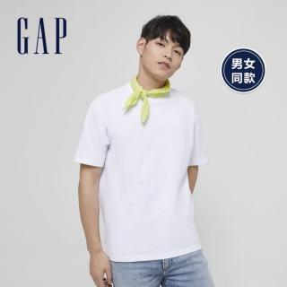 【GAP】男裝 棉質舒適圓領短袖T恤(590048-白色)  GAP
