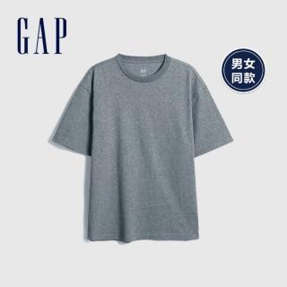【GAP】男裝 棉質舒適圓領短袖T恤(590048-混色粗紡灰)  GAP