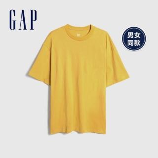 【GAP】男裝 棉質舒適圓領短袖T恤(590048-金色)  GAP