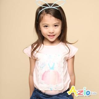 【Azio Kids 美國派】女童 上衣 芭蕾舞女孩網紗刺繡短袖上衣(粉)  Azio Kids 美國派