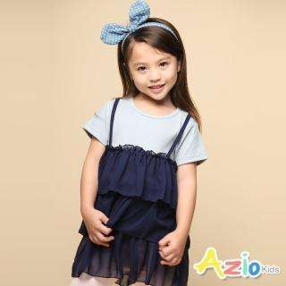 【Azio Kids 美國派】女童 上衣 假兩件吊帶雪紡波浪長版短袖上衣(藍)優惠推薦  Azio Kids 美國派