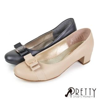 【Pretty】經典金屬蝴蝶結中粗跟鞋(米色、黑色)折扣推薦  Pretty